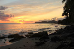Caribbean Sunset. Taken on the island of Vieques, Puerto Rica. shows the beach at Esperanza stock photo