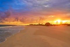 Caribbean sunset beach in Riviera Maya. Of Mayan Mexico Royalty Free Stock Image