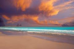 Caribbean sunset beach in Riviera Maya. Of Mayan Mexico Stock Image