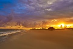 Caribbean sunset beach in Riviera Maya. Of Mayan Mexico Stock Images