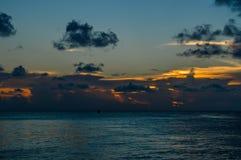 Caribbean Sunset with Cloudscape, Split, Caye Caulker, Belize Stock Image
