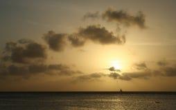 Caribbean Sunset sails. Sunset and sail at a Caribbean Island, Aruba beach Stock Photography