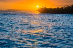 Caribbean sunset. Sunset on Caribbean sea, rocky island Stock Image