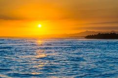 Caribbean sunset. Sunset on Caribbean sea, rocky island Royalty Free Stock Photography