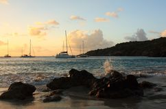 Caribbean sunset, silhouett of boats and yachts Royalty Free Stock Image
