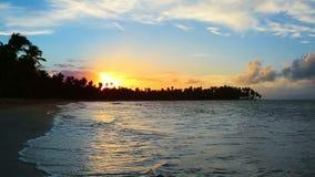Caribbean sunset on tropical beach. Beautiful sky sunset on the ocean. Colorful Sky sunset on tropical beach stock video footage