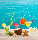 Caribbean tropical beach cocktails mojito margarita Royalty Free Stock Photo