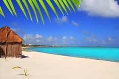 Caribbean tropical beach Mayan Riviera. Caribbean palapa front tropical beach Mayan Riviera Mexico Stock Image