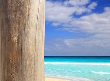 Caribbean tropical beach wood weathered pole Stock Photo