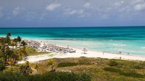 Caribbean tropical  sand beach in Varadero Cuba and palm trees Stock Photo