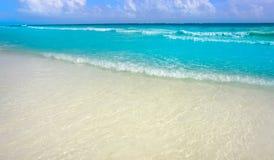 Caribbean turquoise beach in Riviera Maya. Of Mayan Mexico royalty free stock image