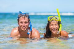 Free Caribbean Vacation Beach Fun Couple On Summer Holiday Swimming With Snorkel Mask ,ocean Watersport Activity Royalty Free Stock Photos - 192038538
