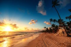 Carribean vacation, beautiful sunrise over tropical beach. Caribbean vacation, beautiful sunrise over tropical beach in Punta Cana Stock Photography