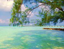 Caribbean View. Ocean view Rum Point Grand Cayman Royalty Free Stock Photo