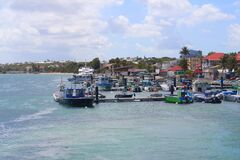 Caribbean village Saint-Francois with fishing port in Guadeloupe