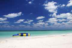 Caribbean Water Trampoline and Beach Stock Photography