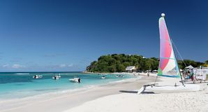 Caribbean Watersport. Caribbean beach with sailing boat Royalty Free Stock Photography