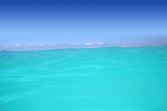 Caribbean wave turquoise water horizon. Line and blue sky Royalty Free Stock Images