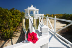 Caribbean Wedding. Champagne Glasses Ready For A Caribbean Destination Wedding Celebration Royalty Free Stock Photography