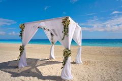 Caribbean wedding gazebo on the beach. Of Riviera Maya of Mexico Stock Photography