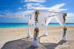 Caribbean wedding gazebo on the beach. Of Riviera Maya of Mexico Royalty Free Stock Image