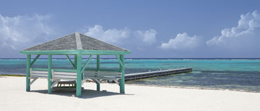 Caribbean white sand beach with hut - panorama Stock Photo