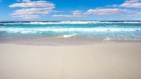 Caribbean white sand shore transparent waves stock video