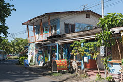 Caribbean wooden house in Puerto Viejo, Costa Rica Royalty Free Stock Photos