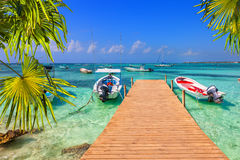 Caribbean wooden pier Stock Image