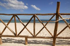 Caribbean wooden tropical fence  on the beach Stock Photos