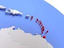 Caribbean on world map Stock Photography