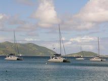 Caribbean Yachting. Sailing yachts at the bay of the caribbean island Tortola Stock Photos