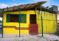 Caribbean yellow house cabin Riviera Maya. Caribbean yellow house cabin in Riviera Maya at Mexico stock photos