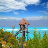 Caribbean zip line tyrolean turquoise sea Royalty Free Stock Photo