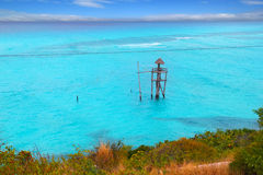 Caribbean zip line tyrolean turquoise sea Royalty Free Stock Image