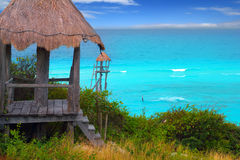 Caribbean zip line tyrolean turquoise sea Stock Photo