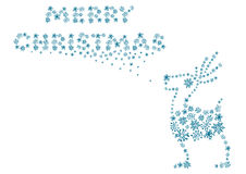 Caribou. Merry christmas caribou with blue snowflakes Stock Photos