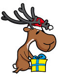 Caribou. Christmas caribou with present - illustration Stock Images