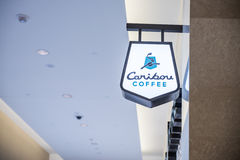 Caribou Coffee store and logo in Mall of America. MINNEAPOLIS,MN - SEPTEMBER 26:Caribou Coffee store and logo in Mall of America, in Minneapolis, MN, on Royalty Free Stock Photos