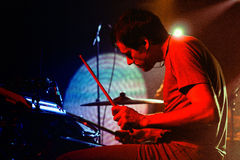 Caribou drummer, performs at Discotheque Razzmatazz. BARCELONA - DEC 12: Caribou drummer, performs at Discotheque Razzmatazz on December 12, 2010 in Barcelona Stock Photography