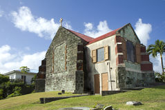 The Caribs. Antigua . The ancient Church. This island attracts tourists with its picturesque white sand beaches, located in the small,  coves Stock Image