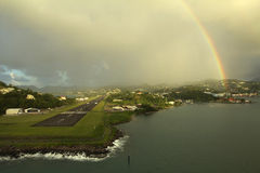 The Caribs. Island Of Saint Lucia. Rain and rainbow. On the one hand the water of the Caribbean sea, and on the other Atlantic, that's where found himself in a Stock Photography