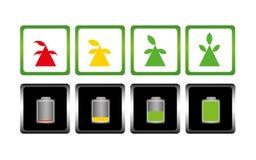 Carica della batteria ed albero icona Simbolo Immagini Stock