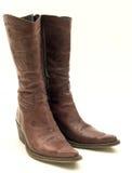 Caricamenti del sistema di cowboy di cuoio del Brown isolati Fotografie Stock Libere da Diritti