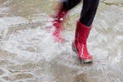 Caricamenti del sistema di gomma nella pioggia Fotografia Stock Libera da Diritti