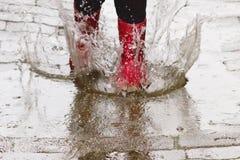 Caricamenti del sistema di gomma nella pioggia Fotografia Stock