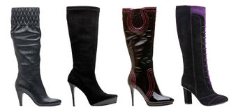 Caricamenti del sistema high-heeled femminili neri Fotografie Stock