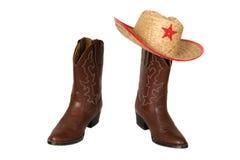 Caricamenti del sistema occidentali con il cappello di cowboy Immagini Stock