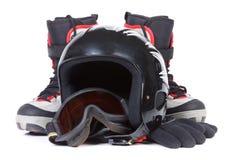 Caricamenti del sistema per lo snowboard e un casco protettivo Fotografia Stock Libera da Diritti