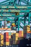 Caricamento della gru a cavalletto della nave porta-container Fotografia Stock